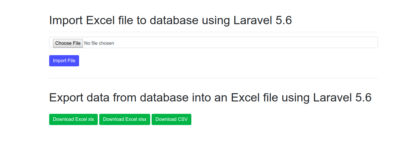 Import Excel file to a MYSQL database with Laravel
