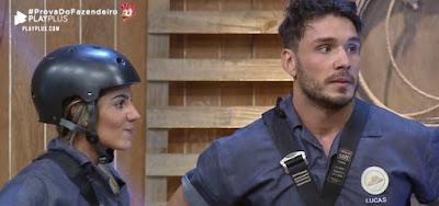 Hariany Almeida e Lucas Viana após serem derrotados por Sabrina Paiva na prova do fazendeiro