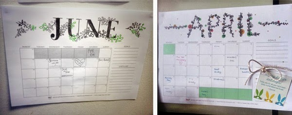 Happiness is... free printable calendars in use