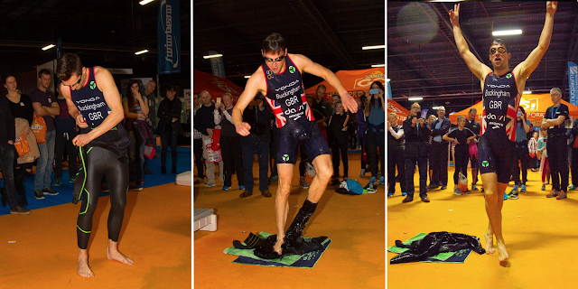 GB Elite Triathlete Mark Buckingham completing the Yonda/Endless Pools Challenge at Swim Expo, Manchester UK, March 2016