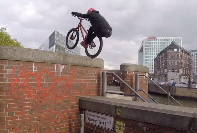 Danny MacAskill, Duncan Shaw, and Fabio Wibmer ride Hamburg | Trial in der HafenCity