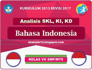 KD Bahasa Indonesia Kelas VII SMP Kurikulum  Analisis SKL, KI, KD Bahasa Indonesia Kelas VII SMP Kurikulum 2013 Revisi 2017