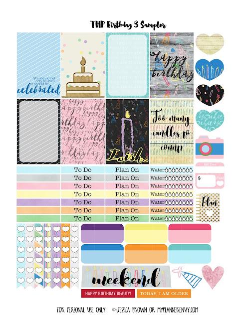 Birthday 3 Sampler for the Happy Planner on myplannerenvy.com