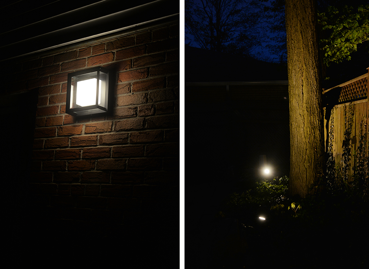 Philips Hue smart outdoor lighting, Lily outdoor spotlight, Econic wall light