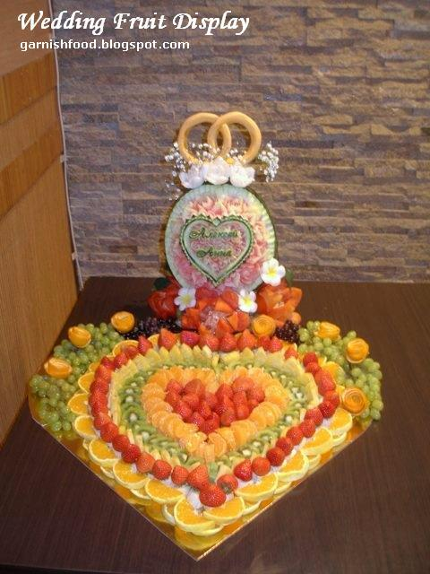 wedding fruit buffet heart design