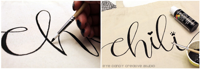 hand lettered, personalized doggie bag, DIY tote bag, DecoArt black paint