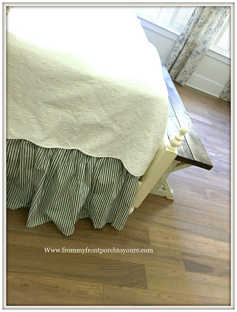 master bedroom makeover-Ticking Stripe-Bedskirt-White Quilt-from my front porch to yours