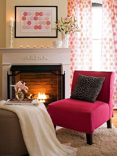 feminine living room with pink armchair