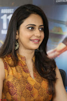 Rakul Preet Singh smiling Beautyin Brown Deep neck Sleeveless Gown at her interview 2.8.17 ~  Exclusive Celebrities Galleries 140.JPG