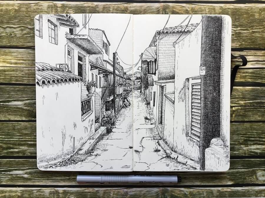 10-Aegina-Town-Greece-1-Keir-Ross-Urban-Travel-Sketcher-www-designstack-co