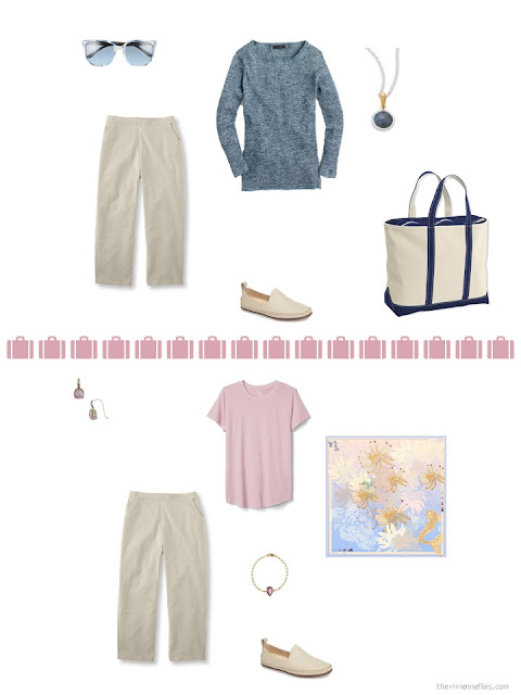 2 ways to style khaki capris from a travel capsule wardrobe