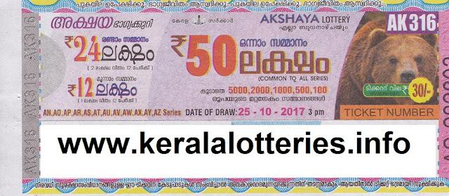 Akshaya (AK-316) Lottery Result on 25-10-2017