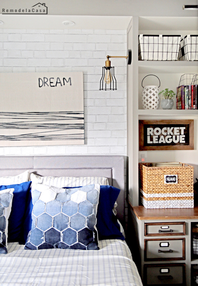 Blue and gray in teen boy room
