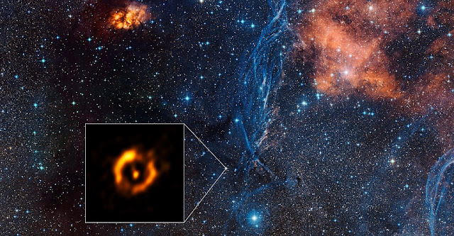 The Very Large Telescope Interferometer at ESO's Paranal Observatory in Chile has obtained the sharpest view ever of the dusty disc around the close pair of aging stars IRAS 08544-4431. For the first time such discs can be compared to the discs around young stars — and they look surprisingly similar. It is even possible that a disc appearing at the end of a star's life might also create a second generation of planets.  The inset shows the VLTI reconstructed image, with the brighter central star removed. The background view shows the surroundings of this star in the constellation of Vela (The Sails).  Credit: ESO/Digitized Sky Survey 2 Acknowledgement: Davide De Martin