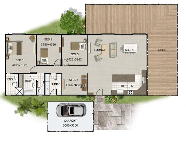 Plano de casa de campo con tres dormitorios planos de for Plano casa campo