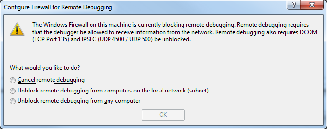 VS2010 remote debugging and Windows 7 firewall