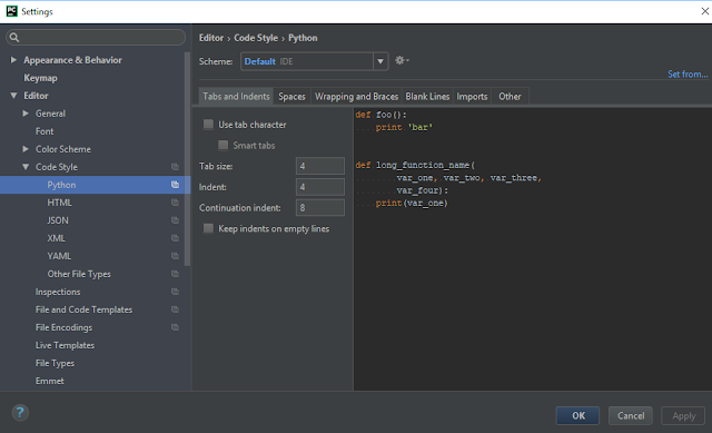 PyCharm File / Settings / Editor / Code Style