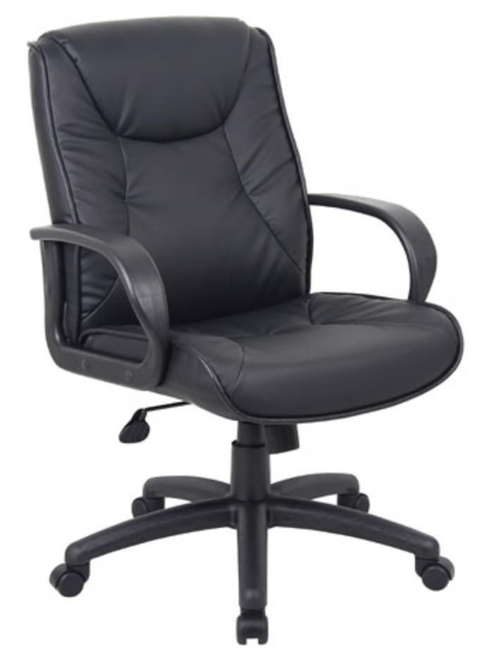 Black Leather Office Chair by Boss