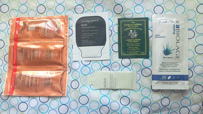 loreal eversleek sulfate free shampoo, conditioner anti-humidity treatment, living proof prime time style extender, le couvent des minimes baume du jardinier, ahava dead sea osmoter body concentrate reviews,  de-stashing project samples weekly edit #2