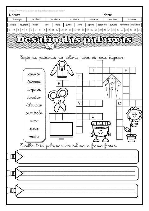alfabetização, cruzadinha, leitura, formação de frases, palavras