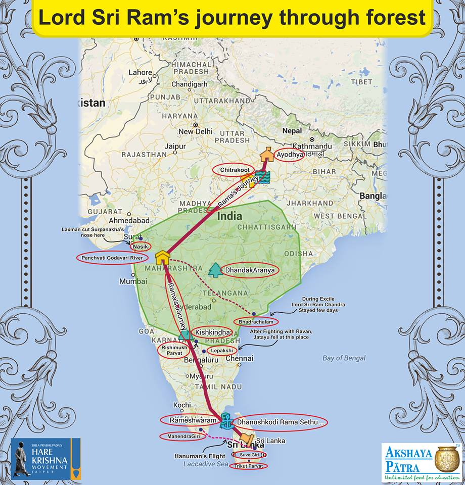 krishna1008 Map of Lord Ramas Forest Journey