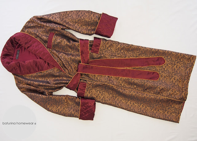 mens classic silk dressing gown trimmed burgundy wine red gold paisley baroque classy traditional long fully lined sulka robe gentleman