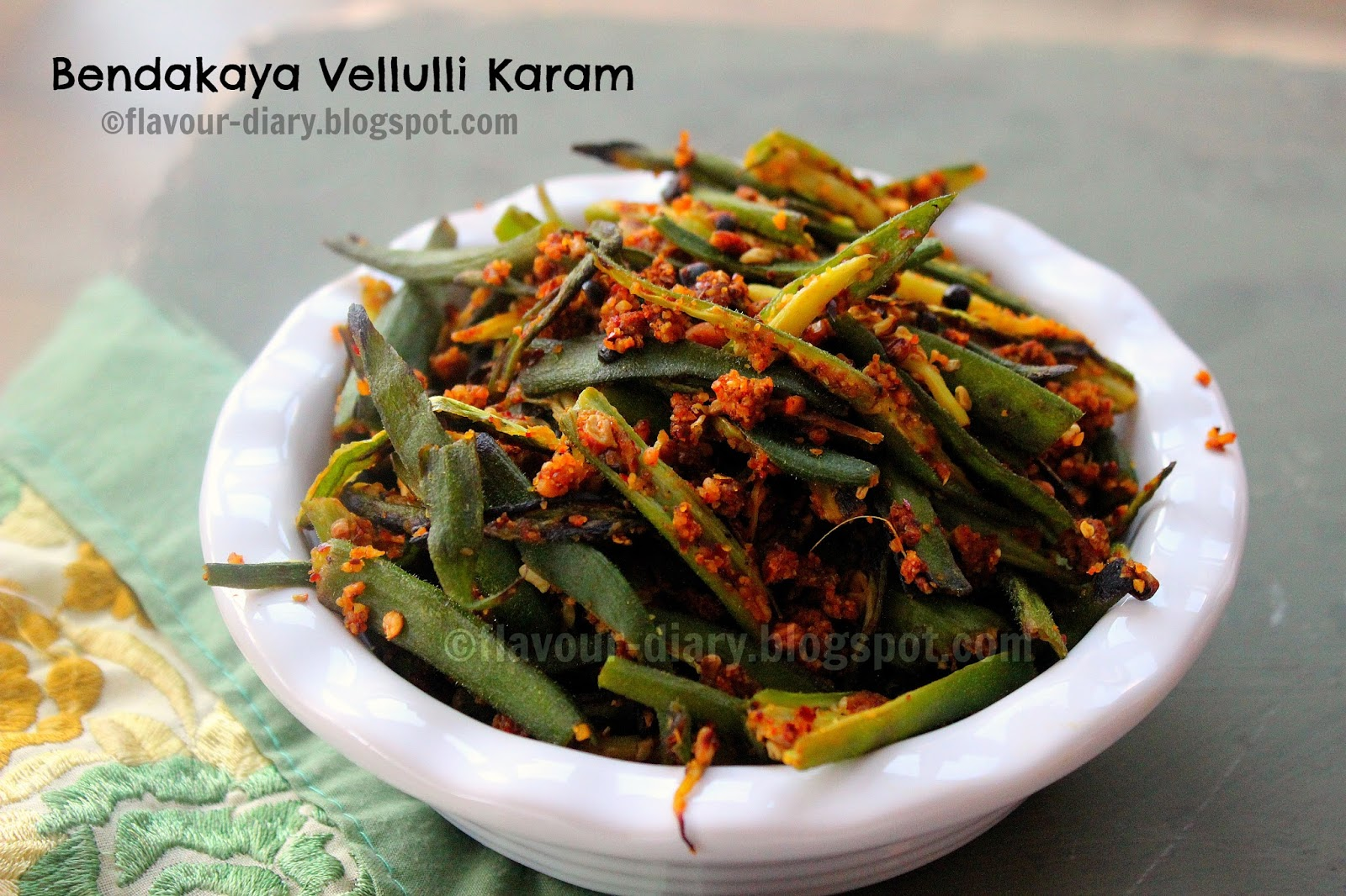 Bendakaya vellulli karam recipe okra in spicy garlic mix karam podi means spice mix made of different spices and have many variations and names depending on ingredients used karam is a telugu word which means forumfinder Images