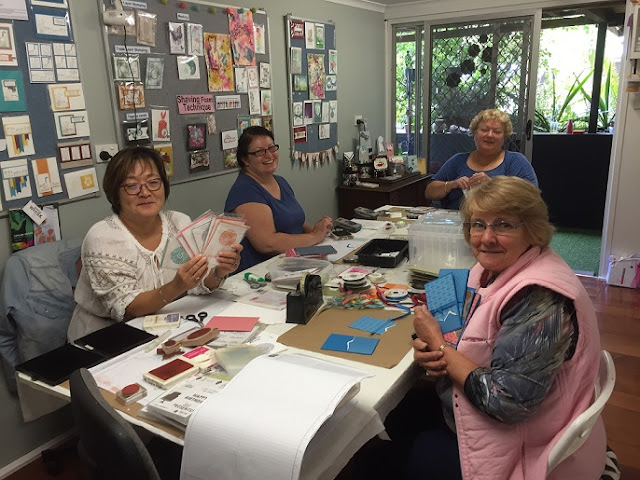 Jade, Liane, Michelle, Janette making cards for charities
