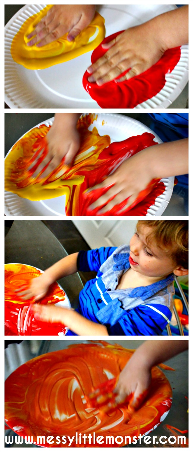 Colour mixing activity for toddlers and preschoolers