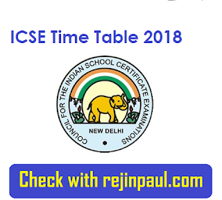 ICSE Time Table 2018