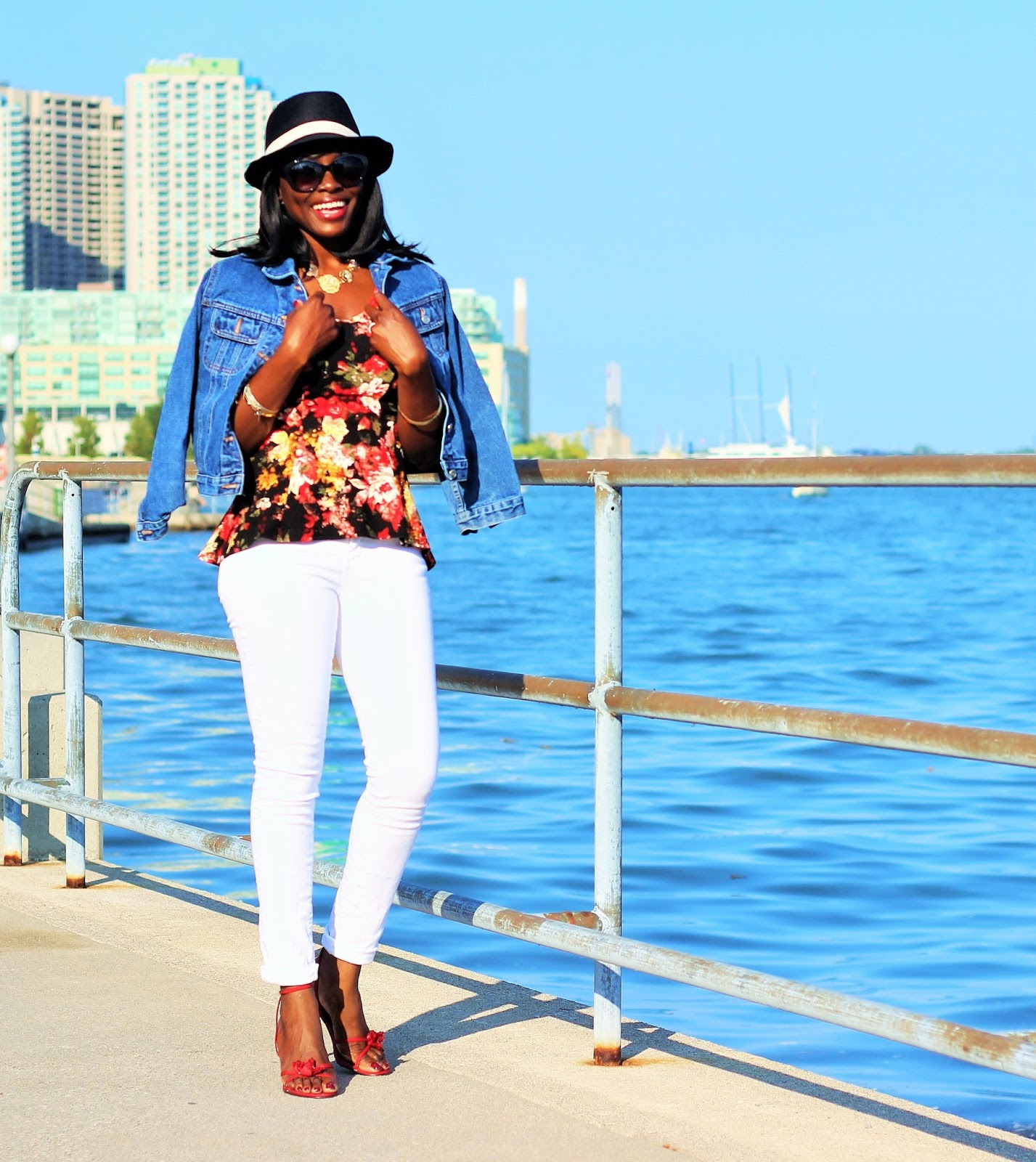 Peplum Top Styled With Skinny Denim Pants