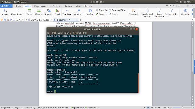 Membuat database MySQL menggunakan terminal