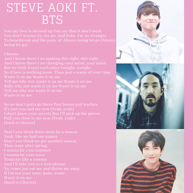 Source of Knowledges: Steve Aoki ft BTS - Waste It for Me