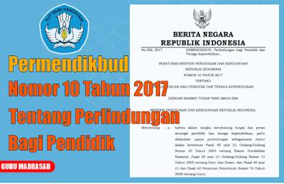 Permendikbud Nomor 10 Tahun 2017 Tentang Perlindungan Bagi Guru