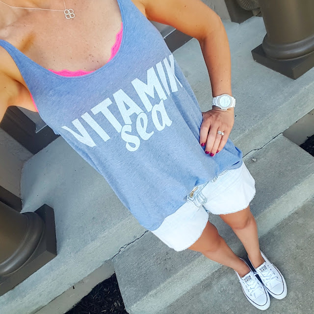 Vitamin Sea Tee via Easy Livin' Tees c/o - the perfect swim cover-up too! // Old Navy Cut Off Denim Shorts // Victoria's Secret Bralette (similar) // Converse Slip On Shoreline Ox Sneakers // Fossil Stella Crystal Watch