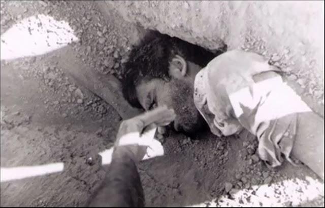 پیکرهای شهیدان قتل عام  در گورهای جمعی  در خاوران