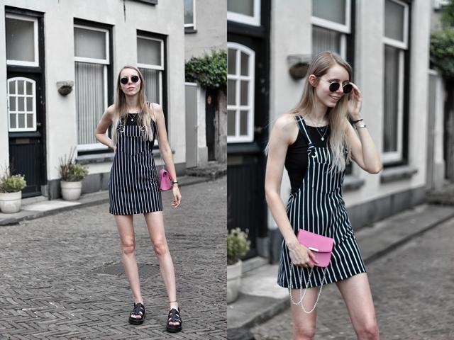 Outfit met chunky Yelena Dr. Martens sandalen via Footway schoenen webshop gestreepte overgooier jurk bershka mode blogger roze tas