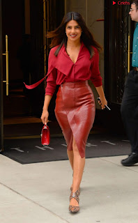 Priyanka Chopra in Red Leather Jacket ~ .xyz Exclusive 005
