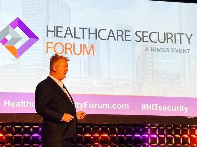 Richard Staynings addresses the audience at the HIMSS Healthcare Security Forum 2017