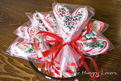 Heart-shaped Candy Cane Lollipops
