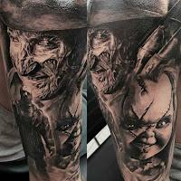 tatuaje para halloween chucky y freddy krueger