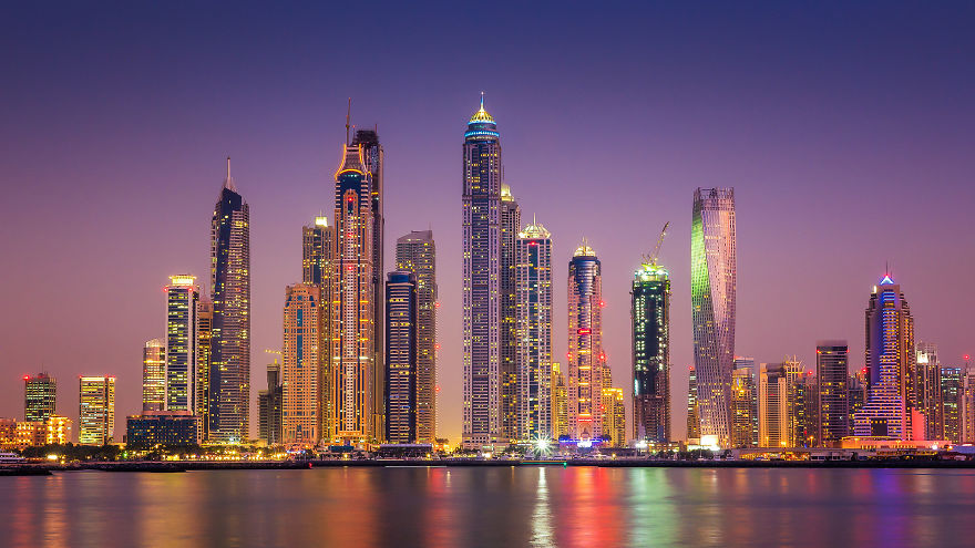 Dubai Marina Skyline - Night-Time Dubai Looks Like It Came Straight From A Sci-Fi Movie