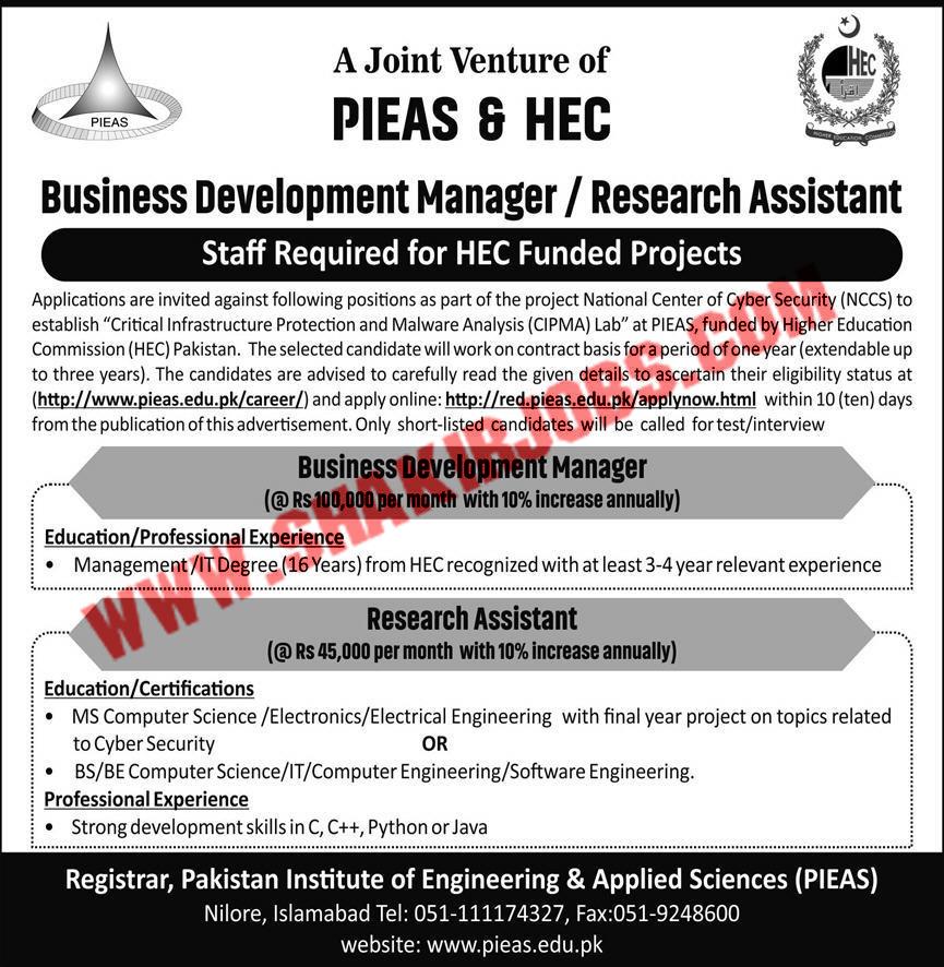 Jobs in Pakistan Institute of Engineering & Applied Sciences PIEAS Jobs September 2020