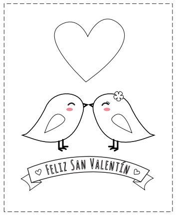 San Valentín colorear tarjeta con pajaritos