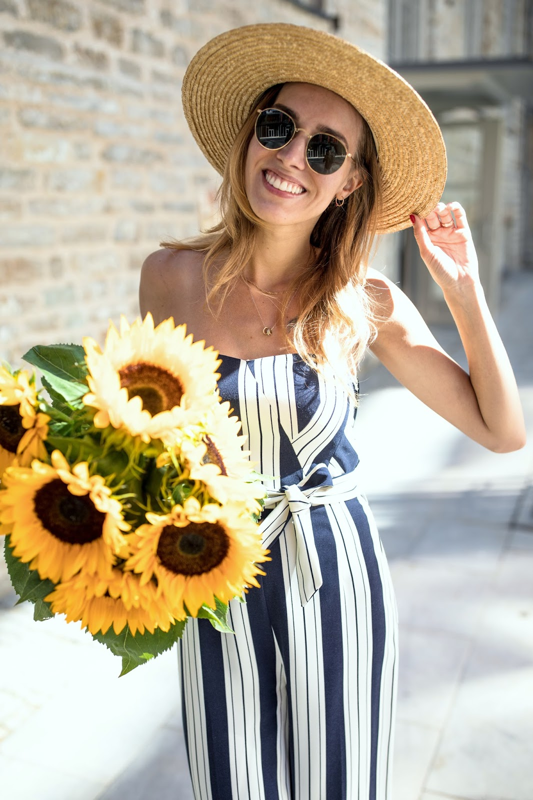 girl happy summer sunflowers