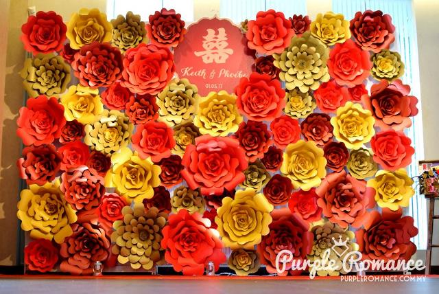 Red and gold giant paper flower backdrop wedding decoration noble love corner photo table wedding stylist decorator klang valley kuala lumpur junglespirit Gallery