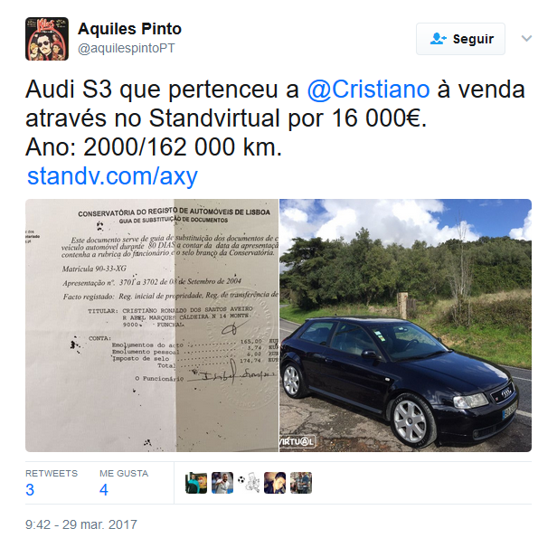 Cristiano Ronaldo vende su auto a un precio accesible