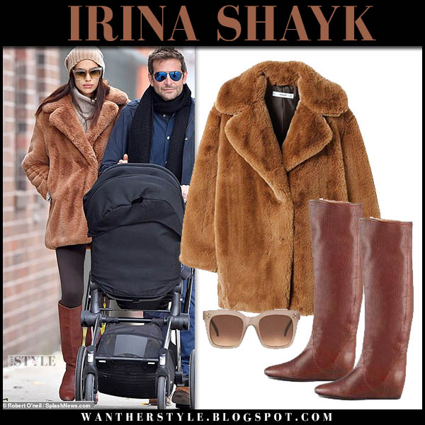 Irina Shayk in brown faux fur teddy mango coat and brown lanvin boots model winter street style october 21