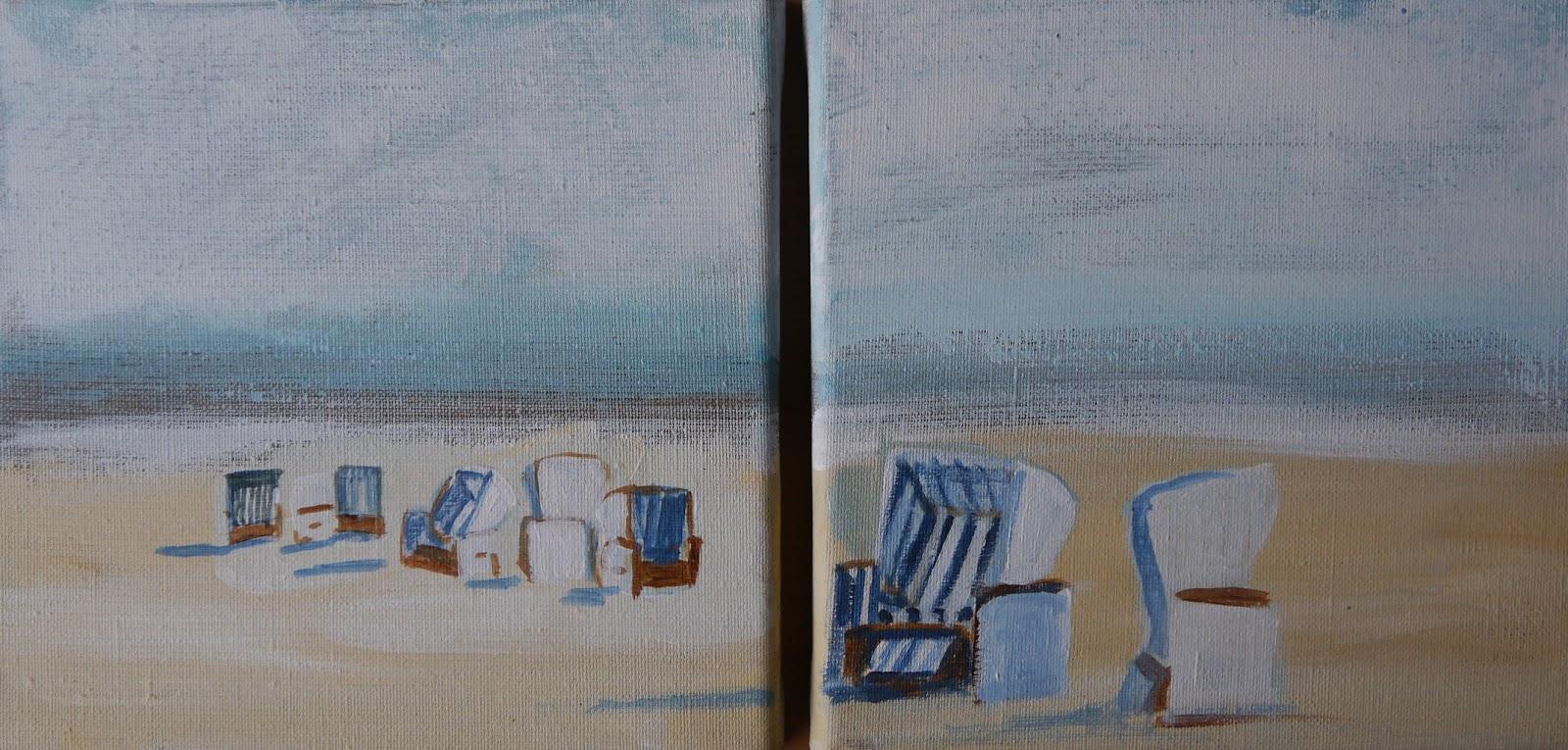 Strandkorb gemalt  Maritime Kunst | Atelier Malerei | Art of Sailing .... Meer als ein ...