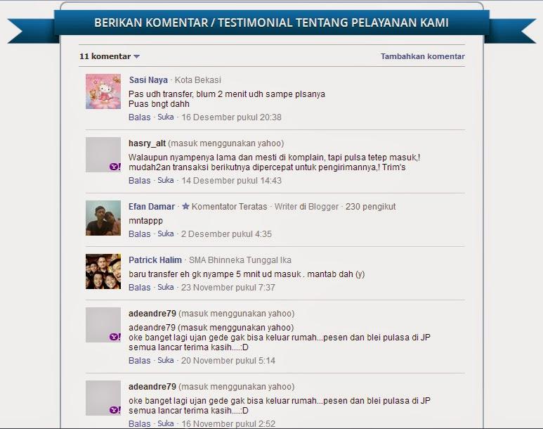 Testimonial Pelanggan Jualpulsa.com